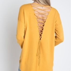 Sweaters - Lace Back Detail sweater - Mustard